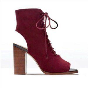 Zara Burgundy Suede Open Toe Lace Up Block Heel